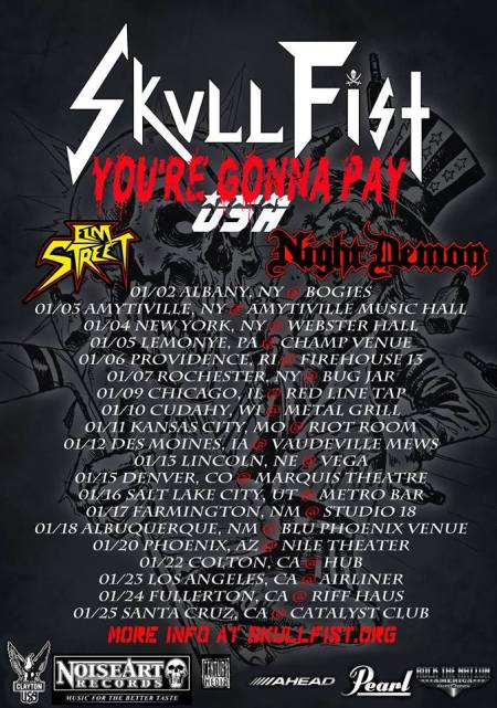 Skull Fist - Elm Street - Night Demon - promo tour flyer - January 2015