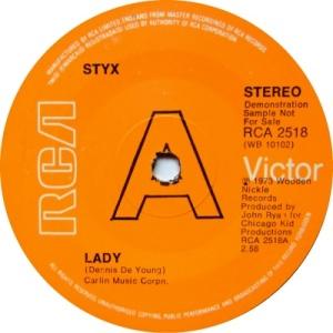Styx - Lady - Demonstration Single - 1973 - promo pic