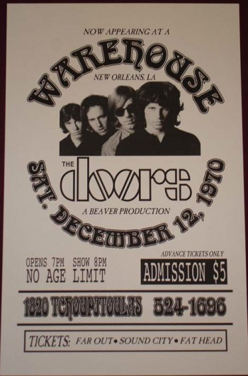 The Doors - Last Show promo flyer - 1970 - New Orleans