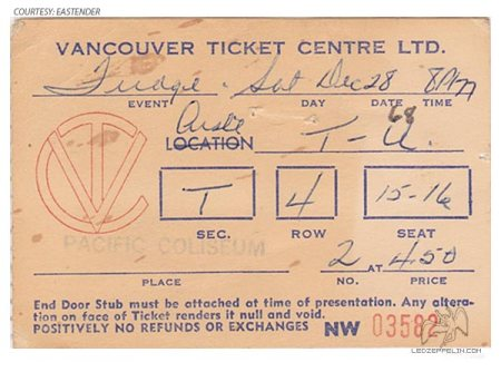Vanilla Fudge - Led Zeppelin - ticket stub - Vancouver - 1968 Concert - promo pic