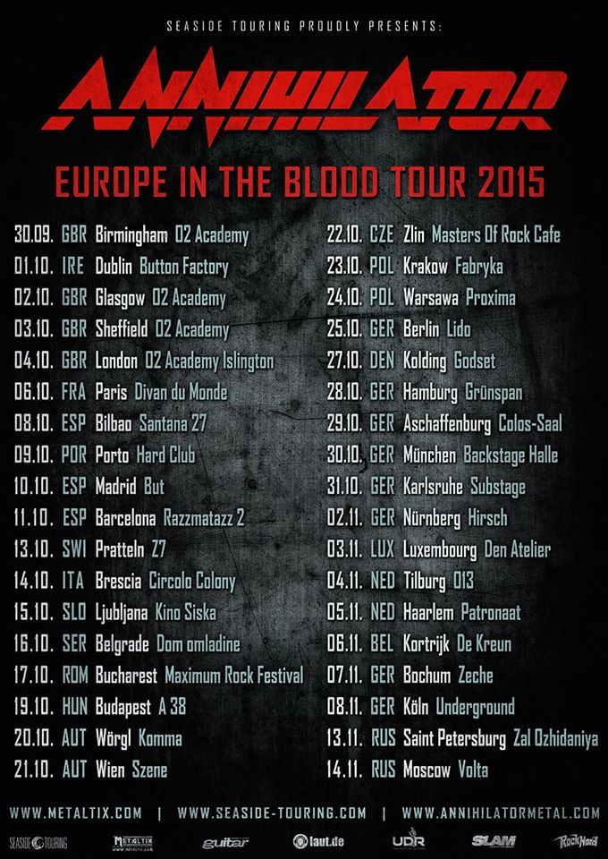 ANNIHILATOR Europe In The Blood Tour Dates Cities - European tours 2015