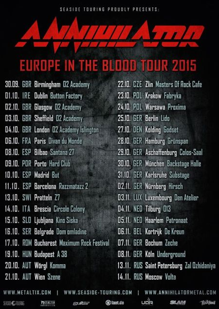 Annihilator - Europe In The Blood Tour 2015 - promo tour flyer - #101115
