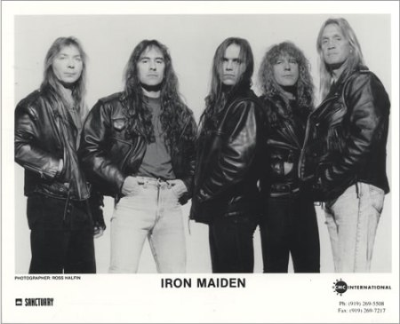 Iron-Maiden-The-X-Factor- tour lineup - promo band promo card - #1996XMO