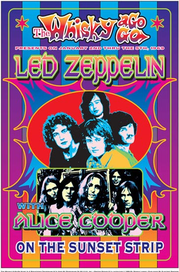 Led Zeppelin - Alice Cooper - Whiskey a go go - 1969 promo flyer - #69RP