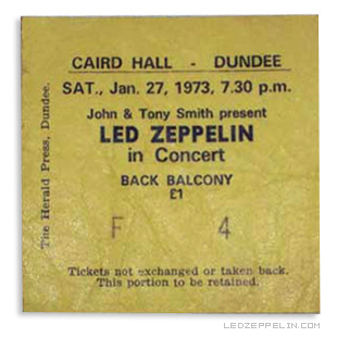 Led Zeppelin - Caird Hall - Scotland - january 27 - 1973 ticket - MO