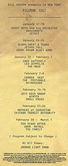 Led Zeppelin - Fillmore East - January 31 - February 1 - 1969 concert flyer