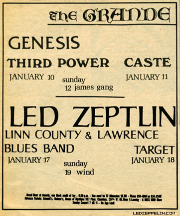 Led Zeppelin - The Grande Ballroom - concert flyer - #1969LZ