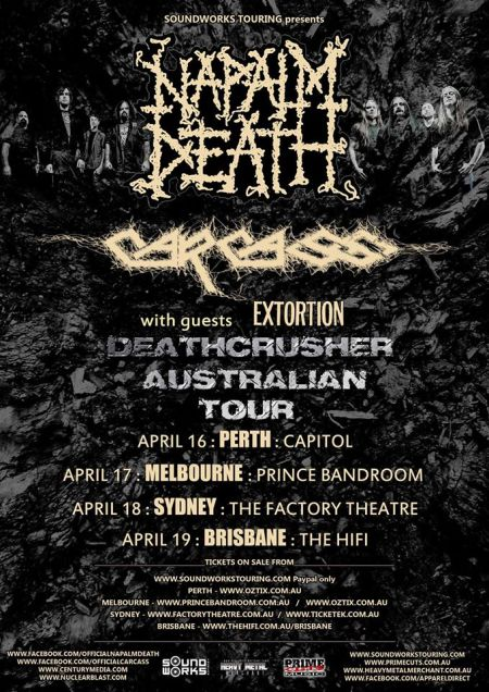 Napalm Death - Carcass - Deathcrusher Australian Tour - promo flyer - April - 2015 - #33NDCMO