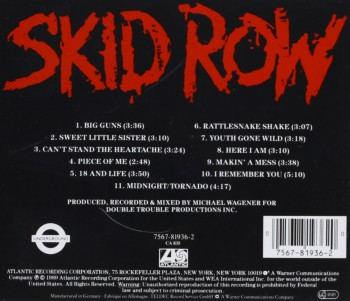 Skid Row - CD back cover promo pic - #1990SRMO