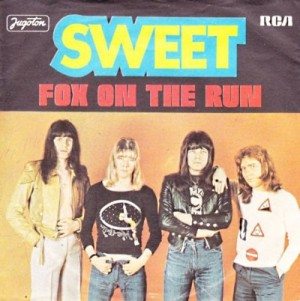 Sweet - Fox On The Run - promo pic - 45rpm cover sleeve - #1976BC