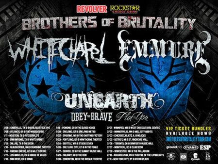 White Chapel - Emmure - Unearth - Brothers Of Brutality Tour - promo flyer - #2013WCMO
