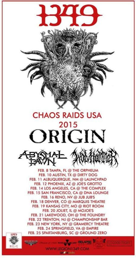 1349 - Wolvhammer - Origin - Abysmal Dawn - promo tour flyer - #2015USMO1349
