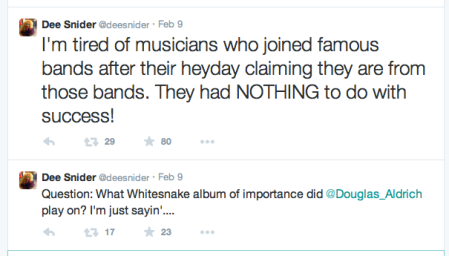Dee Snider - Doug Aldrich comments - February - 2015 - Twitter posts