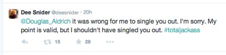 Dee Snider - Twitter apology to Doug Aldrich - February - 2015 - #4DSJA