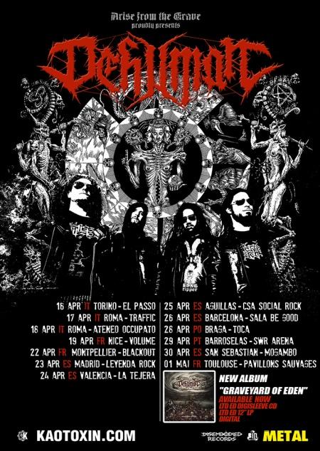 Dehuman - April 2015 Southern Europe Tour - promo tour flyer