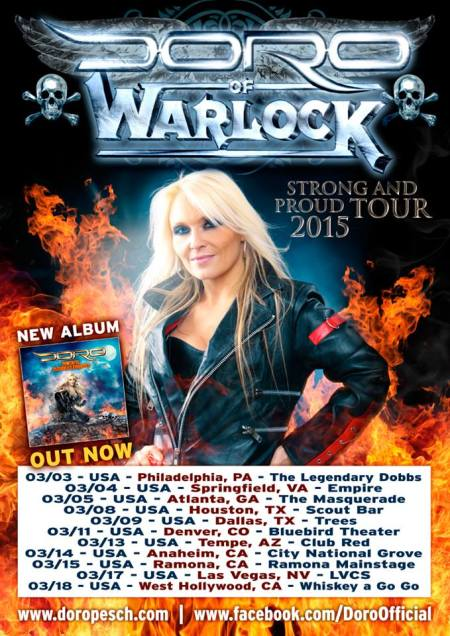 Doro - Strong And Proud Tour - 2015 - promo flyer pic - USA - #33DMO