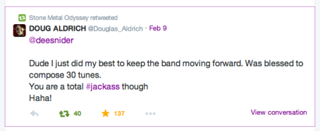 Dough Aldrich - twitter response to Dee Snider - February - 2015 - #33JA