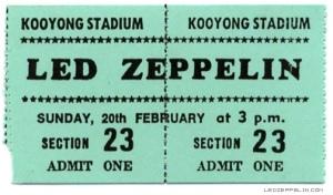 Led Zeppelin - Australia - Kooyong Stadium - ticket stub promo - #1972LZMO1