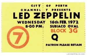 Led Zeppelin - Subiaco Oval - Perth Australia - ticket promo - 1972 - #33LZMO