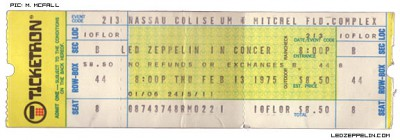 Led Zeppelin - ticket promo - 1975 - Nassau Coliseum - Feb - 13 - MOLZ