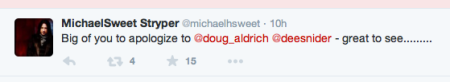 Michael Sweet - twitter response - 2 - to Dee Snider - February 2015 - #7772