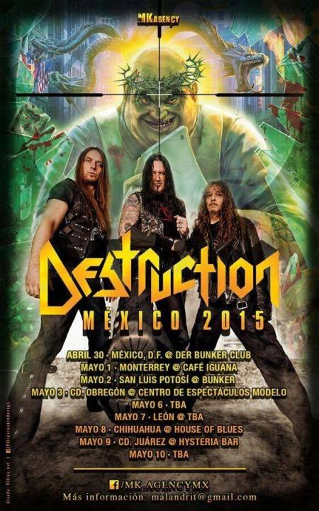 Destruction - Mexico Tour Dates - 2015 - promo flyer - #33055DMO