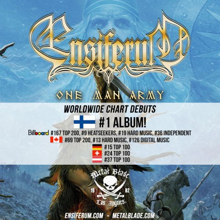 Ensiferum - One Man Army - promo album debut chart rankings flyer - 2015 - #09EMOMBR