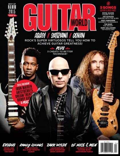 Guitar World - Abasi - Satriani - Govan - April - 2015 - promo cover pic - #042015JSMO