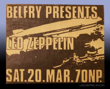 Led Zeppelin - The Belfry - March 20 - promo flyer pic - #1971LZRPJPMO33