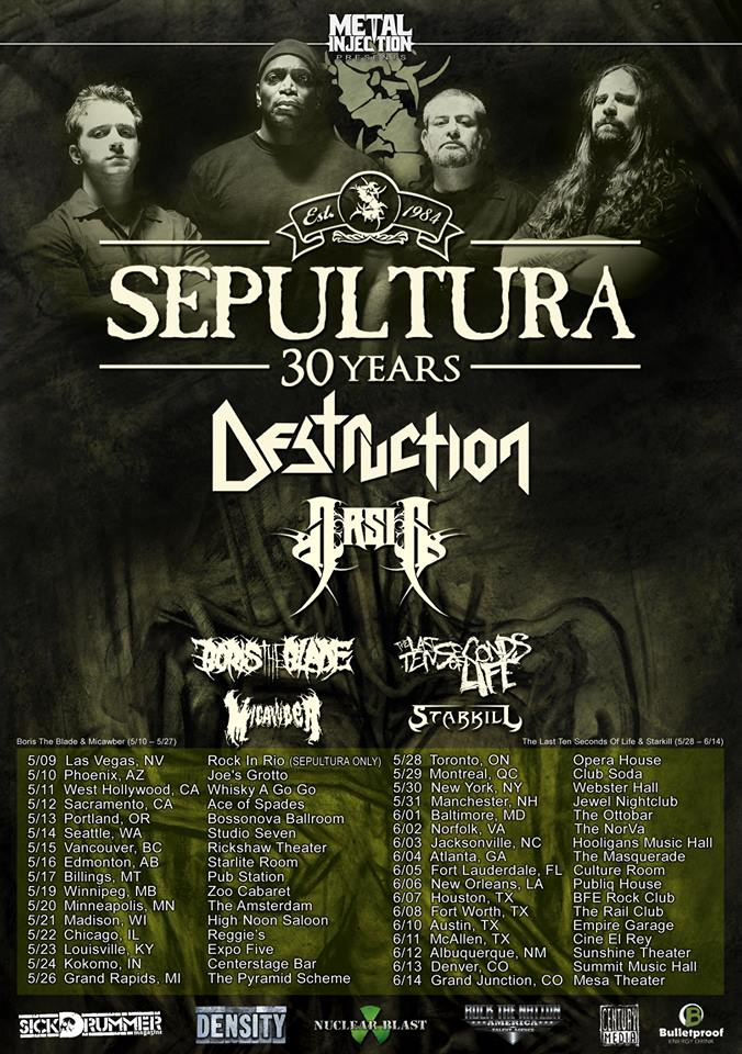 Sepultura 30th Anniversary North American Tour Dates Cities And Venues