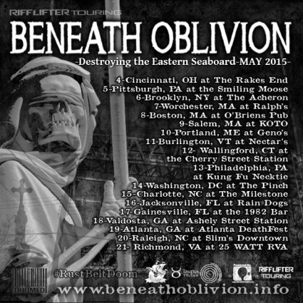 Beneath Oblivion - promo tour flyer - Spring - 2015 - #042415MO