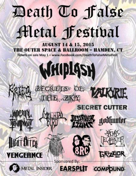Death To False Metal Festival - promo flyer - Hamden - CT - 2015 - August - MO