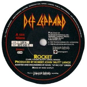 Def Leppard - Rocket - UK 45rpm version - 1982 - 45rpm label