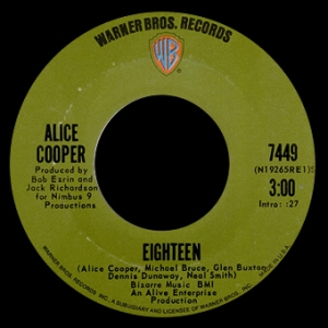 Eighteen - Alice Cooper - promo - 45rpm - photo - #1971MOACTB