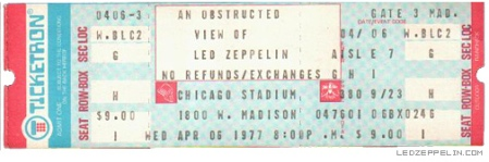 Led Zeppelin - Chicago Stadium - April 6 - 1977 - Full Ticket Promo Pic - #06MOLZ77