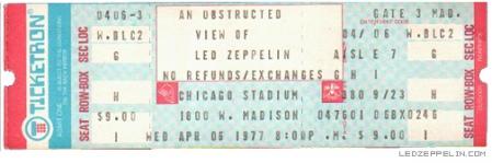 Led Zeppelin - Chicago Stadium - April 6 - 1977 - Full Ticket Promo Pic - #06MOLZ77