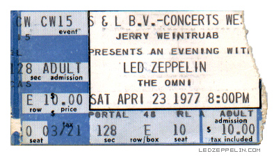 Led Zeppelin - ticket stub - The Omni - Atlanta - 04 - 23 - 77 - #10423JPMO