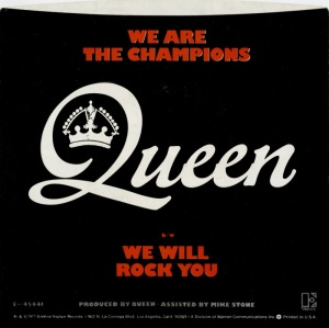 Queen - We Are The Champions - We Will Rock You - 45rpm - back cover sleeve