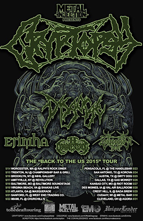Cryptopsy - US - Tour Promo Flyer - 2015 - May - MOC
