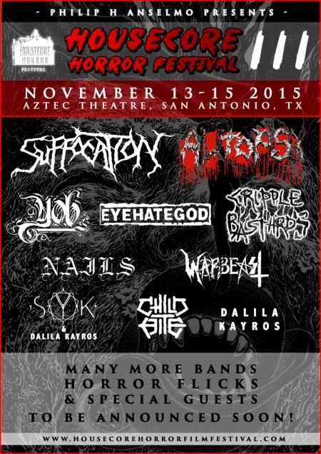Housecore Horror Festival - November 2015 - promo flyer - #111315MOPHA