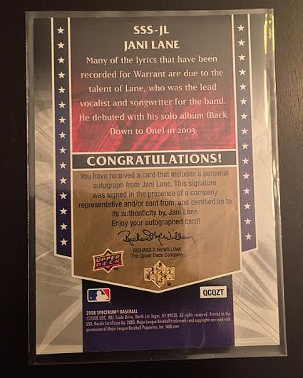 Jani Lane - Autographed UD card - back - Metal Odyssey - 2015