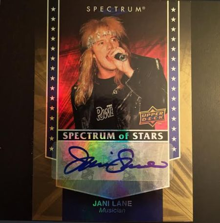 Jani Lane - Autographed UD card - front - Metal Odyssey - 2015