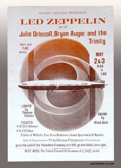 Led Zeppelin - Pasadena California - May 3 - 1969 - promo flyer
