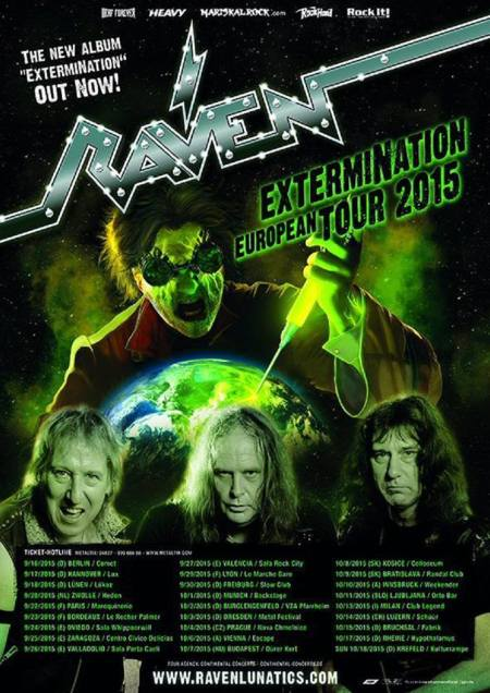 Raven - Extermination Tour - 2015 - Europe - promo flyer - #3308MOR