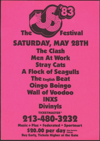 The US Festival - 1983 - May 28 - promo flyer pic - #052883MOUSNW01