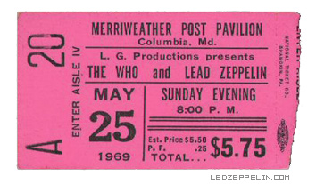 The Who - Led Zeppelin - Concert Ticket Stub - May 25 - 1969 - Maryland - #TWLZMOOMFG