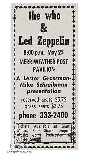 The Who - Led Zeppelin - May 25 - 1969 - promo AD - #LZTWMOOMG