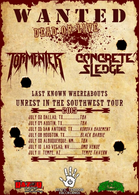Tormentor - Concrete Sledge - promo tour flyer - July 2015 - MO