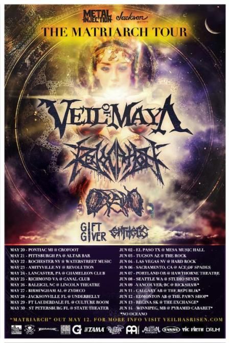Veil Of Maya - Revocation - The Matriarch Tour - promo flyer - 2015 - Spring - #003MO