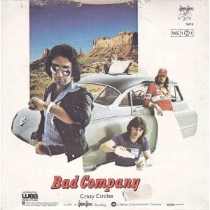 Bad Company - Crazy Circles - B side - Rock n Roll Fantasy - 45rpm cover sleeve - 1979